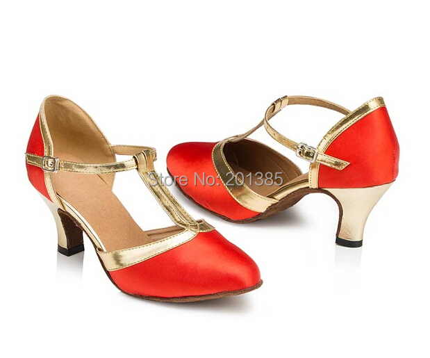 Free Shipping Wholesale Women Red Satin T-Straps Closed Toe Ballroom Salsa Latin Standard Smooth Dance Shoes Tango Dance Shoes