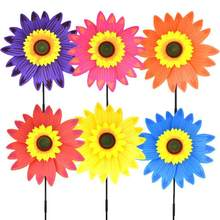 Sunflower Wind Spinners Lawn Pinwheels Garden Party Pinwheel Wind Spinner Windmill for Patio Garden Lawn(China)