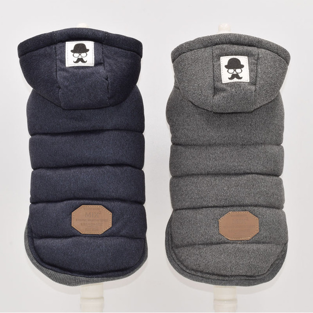 Due Piedi Vestiti Del Cane di Inverno Blu Grigio Colore S-xxl di Formato Per La