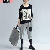 DIMANAF Women T Shirt Autumn Pattern Batwing Tops Big Size Cotton Long Sleeve Casual Fashion 2017