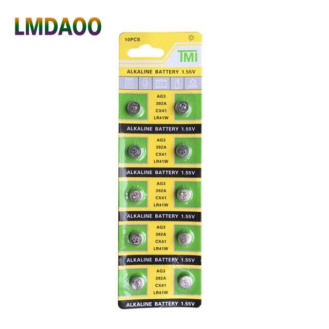 10 pcs/כרטיס LR41 AG3 392A SR41SW 384 LR736 V3GA 192 1.55 V כפתור לחצן סוללות עבור שעון שעונים מצביע לייזר לפיד