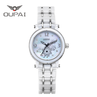 OUPAI Lucky Clover Ceramic Waterproof Ladys watch White Simple Luxury High Quilty Free Shipping Quiz Watch Women