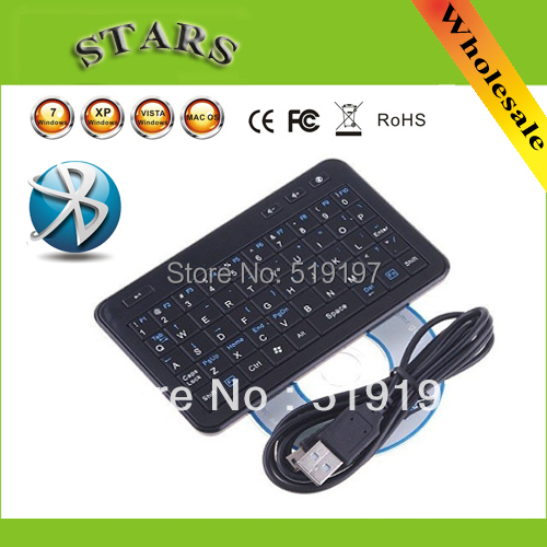 Wholesale Free shipping wholesale Mutifunctional Mini Wireless Bluetooth Keyboard for PS3 Phone PC HTPC mini keyboard case
