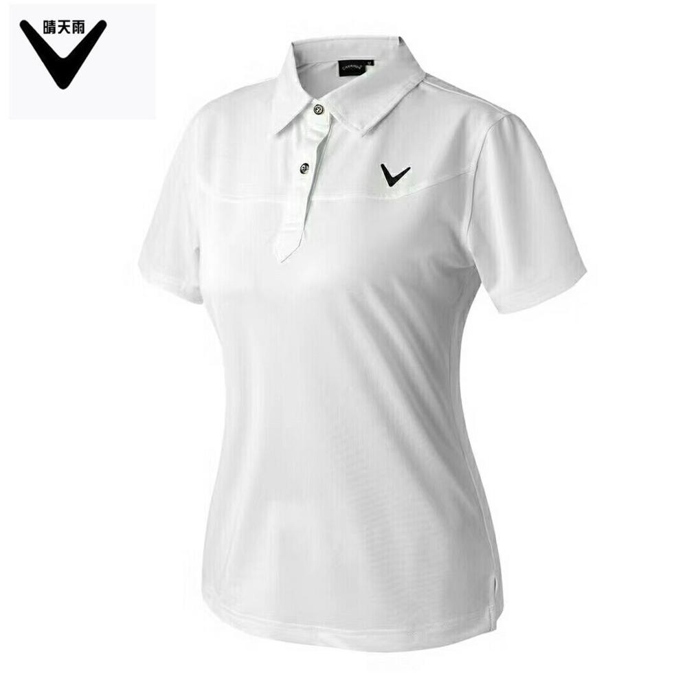 CAIIAWAV Womens Short sleeves Golf T-shirt outdoor sports breathable Quick-dry Button collar Golf shirts summer Slim sportwear