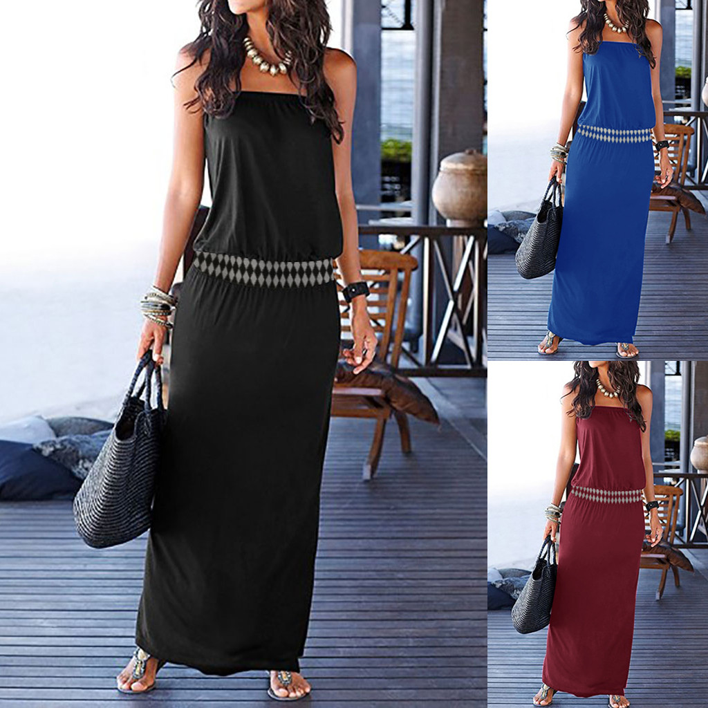 Women Summer <font><b>Plus</b></font> <font><b>Size</b></font> Women <font><b>Sexy</b></font> Bandeau Holiday Off Shoulder Sleeveless <font><b>Dress</b></font> Maxi Long Causal Party Beach boho <font><b>Dress</b></font> image