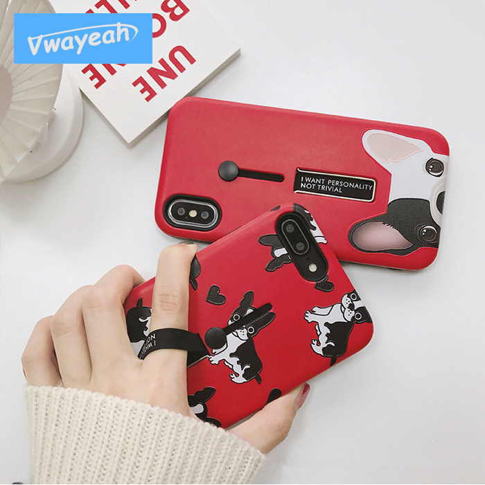 Ins hot Japan Korea For iPhone x 10 6 6s 7 8 Plus Stretch Ring Stander Holder Multi Function Hot Kawaii Lovely Bulldog Dog Case