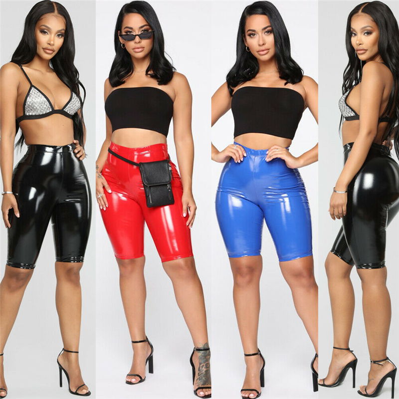 Women PU Leather High Waist Shorts Clothes Wet Look Female Sexy Hot Stretchy Push Up Pencil Tight Leggings Shorts