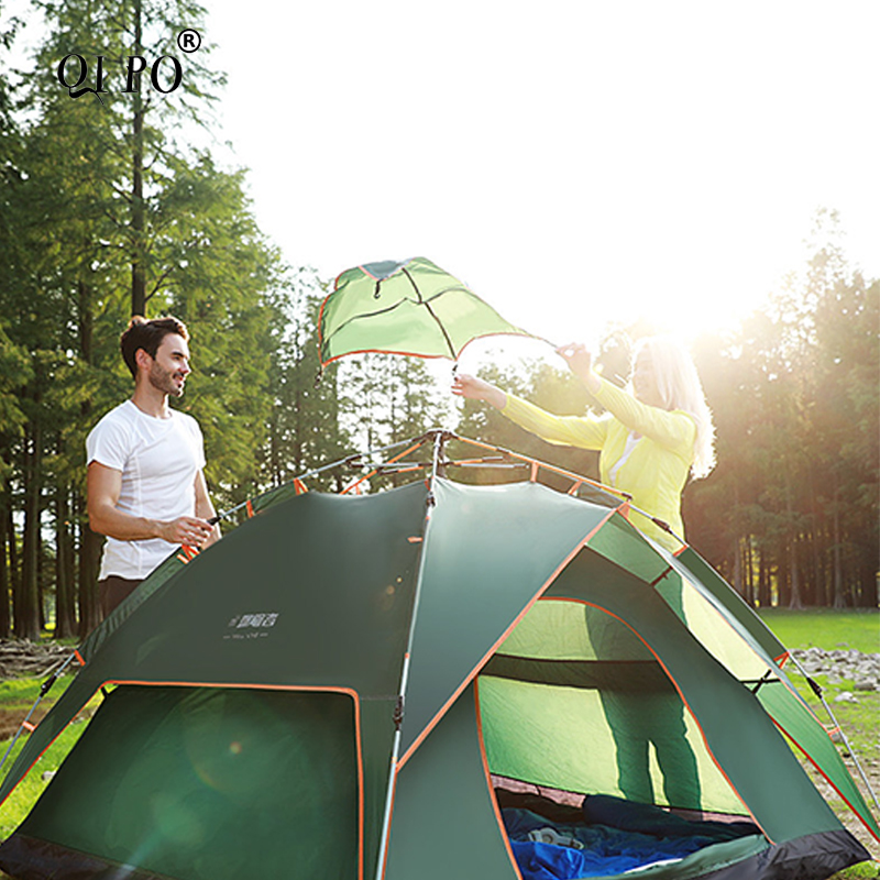 QIPO Double Layer Throw Tent Outdoor Automatic Throwing Pop Up Waterproof Camping Hiking Tents Waterproof Large Family Tents outdoor camping hiking automatic camping tent 4person double layer family tent sun shelter gazebo beach tent awning tourist tent