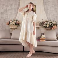 New Arrivals spring Summer Nightgowns Loose Ladies Princess Sleep Wear Solid Lace Home Dress Nightdress s763