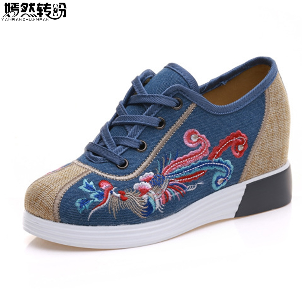 Autumn New Women Shoes Canvas Phoenix Embroidery Lace Up Casual Flats Cloth Platforms Shoes Woman Sapato Feminino vintage embroidery women flats chinese floral canvas embroidered shoes national old beijing cloth single dance soft flats