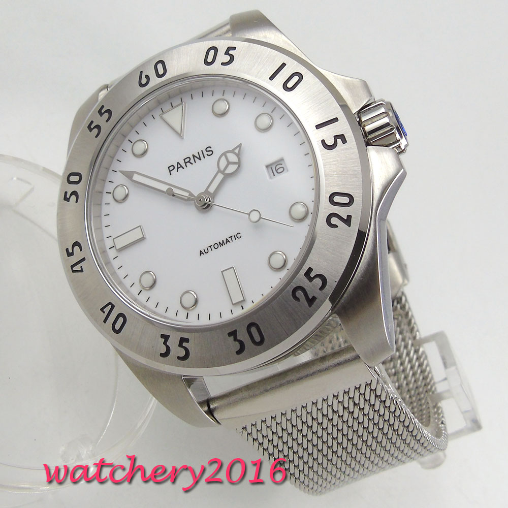 New 43mm Parnis white dial date adjust stainless steel luminous markers automatic movement Men's Watch new forcummins insite date unlock proramm