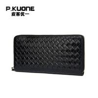 P. KUONE натуральная кожа барсетка для бизнесменов сумка высокого качества модный кошелек большой емкости портмоне новый дизайнерский держат...