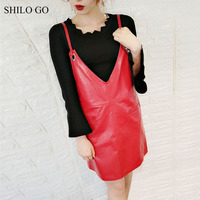 SHILO GO Leather Dress Womens Spring Fashion Sheepskin Genuine Leather Dress V Neck Spaghetti Strap Concise