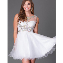 2016 elegantes A-linie Kurze Cocktailkleid Tüll Scoop Ausschnitt Sleeveless Mini Länge Homecoming Abendgesellschaft Abendkleid Weiß
