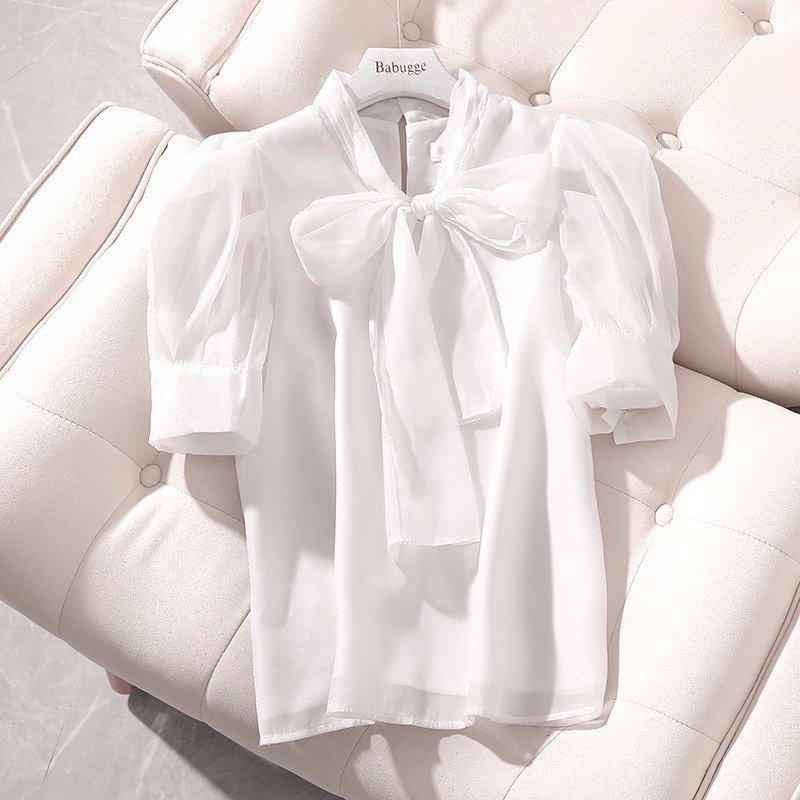 Manches courtes blanc chemise arc en mousseline de soie blouse 2019 été femmes hauts et chemisiers lâche élégant haut tendance coréen camisas mujer