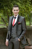 New Tailored Smoking Grey Satin Suit Men Slim Fit 3 Piece Groom Wedding Suits Custom Blazer Prom Tuxedo Ternos Jacket+Pants+Vest