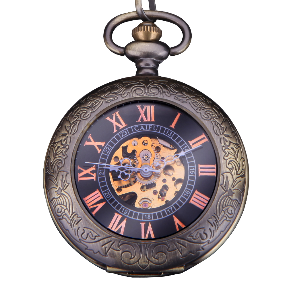 45ab613c2ae9 Forsining moda marca vintage FOB reloj de bolsillo mecánico hombres tallado  bronce cadena relojes Roma numberal dial reloj causal
