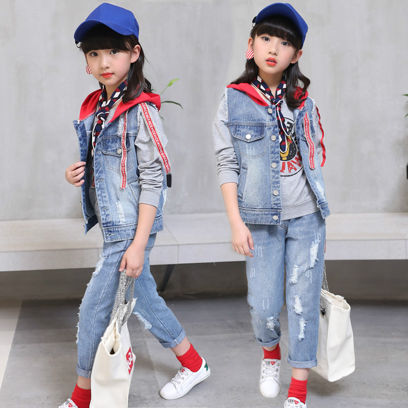 New Fashion Spring Autumn Infant School Girls Denim Clothing Set Modern 3pcs Long Sleeve T Shirts + Jeans Jacket+ Pants Outfit 2018 spring autumn infant baby girls denim clothing set 3pcs lace long sleeve t shirts jeans jacket pants outfit