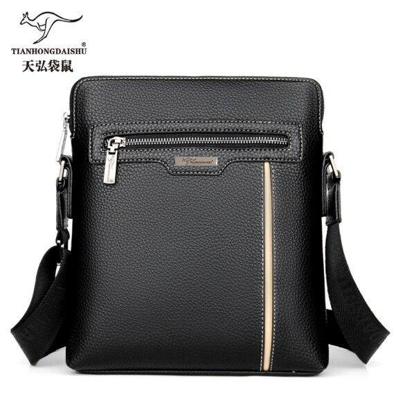 ed090c549f Men s leather shoulder Messenger Bags men soft leather Messenger bag male  business IPAD casual vertical bag man s handbag 2018