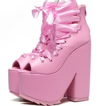 Club sexy lace up bandage pink peep toe platform super very ultra high heel ankle boots creepers chunky heels cosplay punk shoes