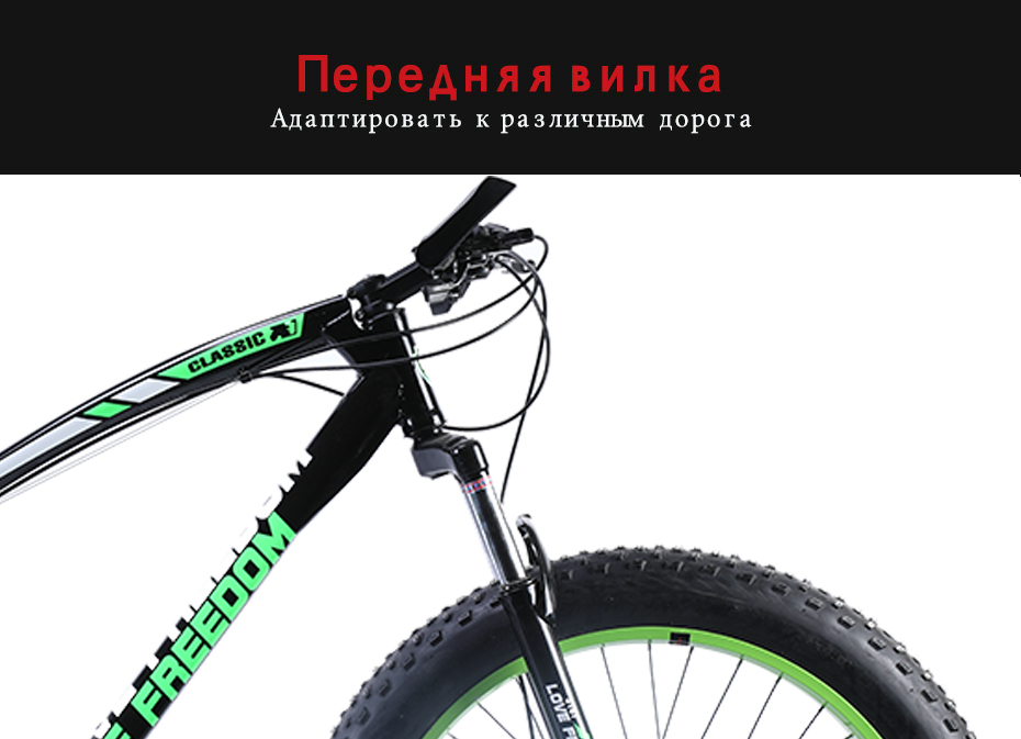 HTB1TiAIXp67gK0jSZPfq6yhhFXaV Love Freedom 7/21/24/27 Speed Mountain Bike 26 * 4.0 Fat Tire Bikes Shock Absorbers Bicycle Free Delivery Snow Bike