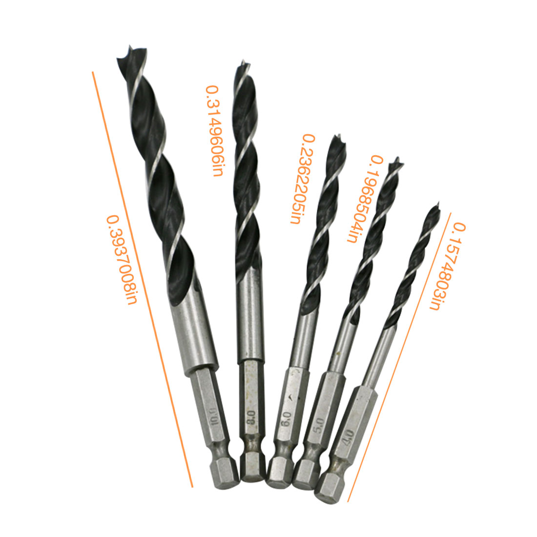 5PCS Drill Bit Set 4mm 5mm 6mm 8mm 10mm Change Metal Tools 1/4 Hex Shank Wood Rustproof Woodworking Drill Hexagonal Shank