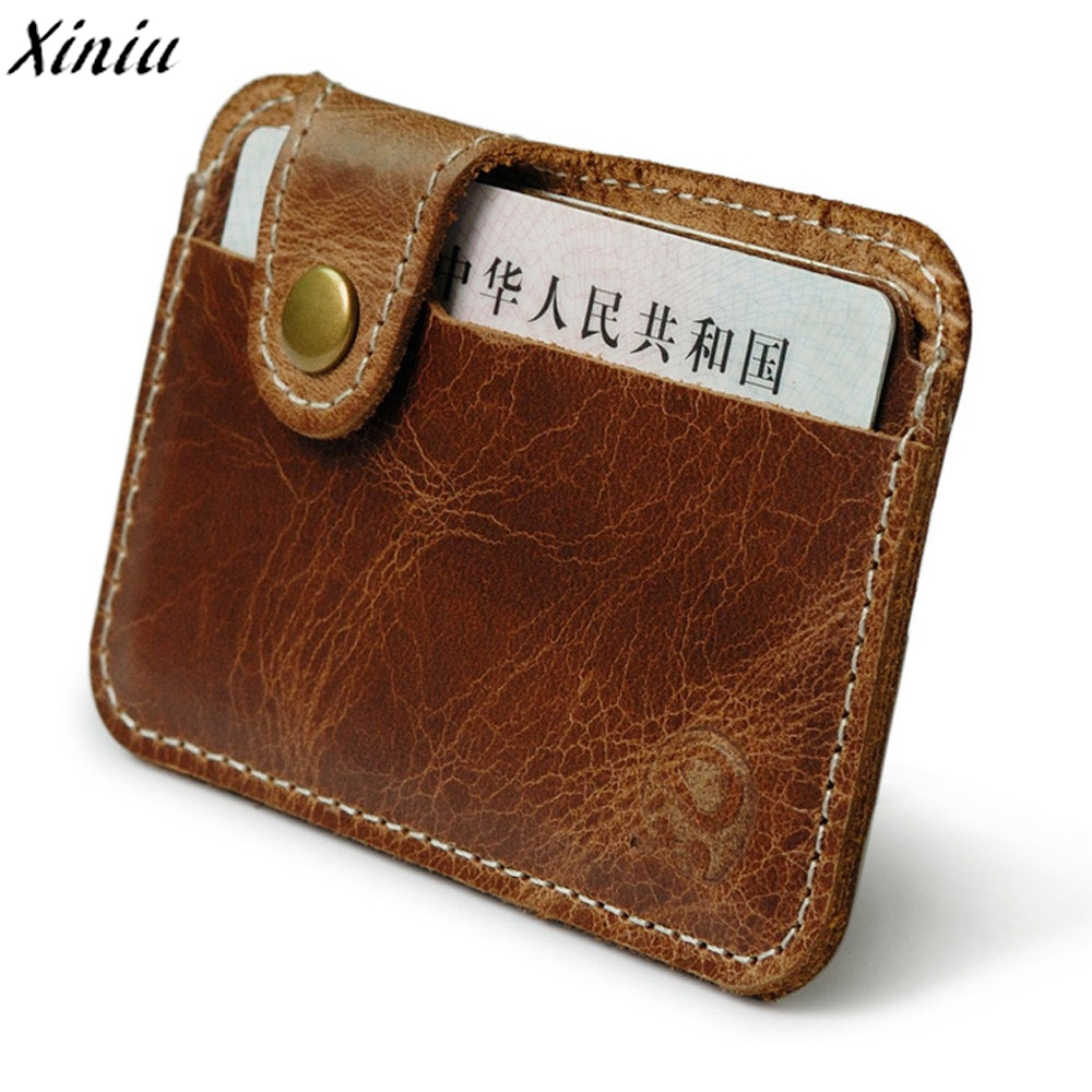 Leather Men Card Wallets Short Small Vintage Mini Wallet Leather Card Holder Pocket Purse billetera hombre *7718