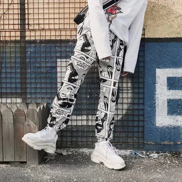 New Harajuku Comic Print Loose Casual Pants Women High Waist Wide Leg Pants Streetwear Sweatpants Hip Hop Sweatpants S-XXL