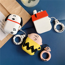 Cartoon Puppy Bluetooth Earphone Case For Apple AirPods Silicone Charging Headphones Cases For Airpods Earpods Ring Strap Cover