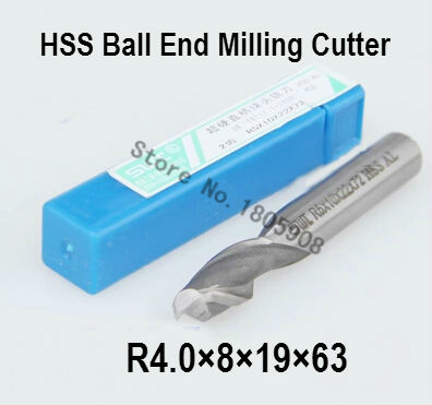 Free shipping 10PCS R4.0 high speed steel ball end milling <font><b>cutter</b></font>, straight shank white steel <font><b>cutter</b></font>, R alloy milling <font><b>cutter</b></font> image