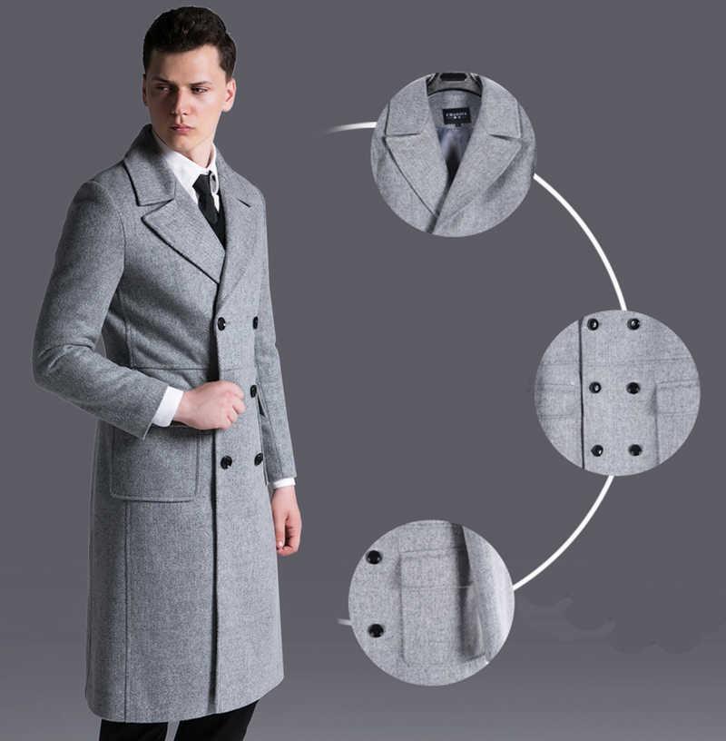 2019 lange Wolle Mantel Für Männer Hohe Qualität Zweireiher Mantel Großen Größe S-6xl Mode Männlichen Graben Mischung Mann Kleidung ZZ107