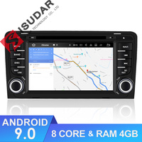 Isudar Автомагнитола 2 Din с 7 Дюймовым Экраном на Android 8.0 Для Автомобилей Audi/A3/S3 8 Ядер 4GB RAM Wifi