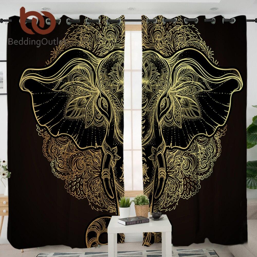 BeddingOutlet Tribal Elephant Living Room Curtain Mandala Curtain Decor for Bedroom Indian God Ganesha Window Treatment Drapes