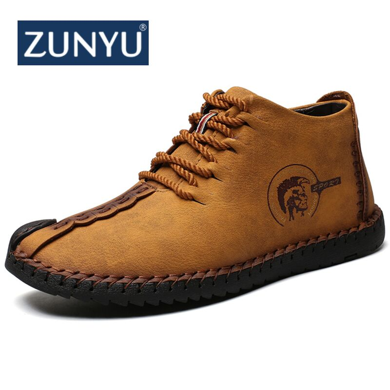ZNUYU New Keep Warm Winter Snow Men Boots High Quality Split Leather Casual Men Shoes with Plush Fashion Boots Big Size 38~48 new casual mens cheap winter shoes keep warm with fur outdoor male snow shoes plush boots fashion men s suede leather sneakers