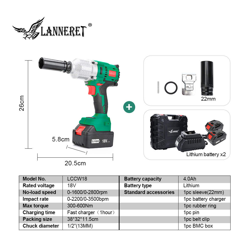 LANNERET 18V Brushless Cordless Impact Electric Wrench 300-600N m Torque