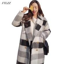 FTLZZ, новинка, Осень-зима, Женский кашемировый Тренч, куртка, Повседневный, черный, белый, в клетку, толстое, теплое, на пуговицах, с карманами, куртки