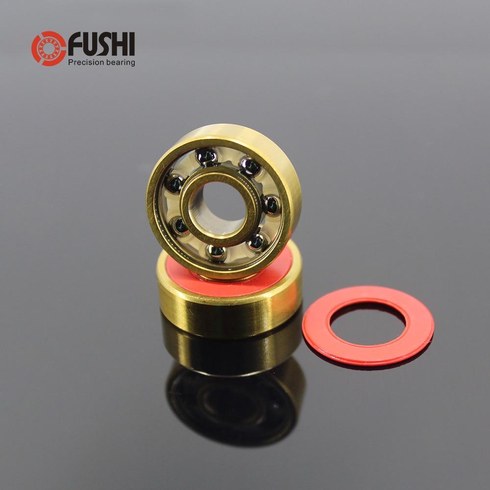 Skateboard 608-TIG Bearings 8x22x7mm ( 2 PCS ) ABEC -? 608 V RS Surface Gold Titanium Plating Nylon Cage 608 Ball Bearing