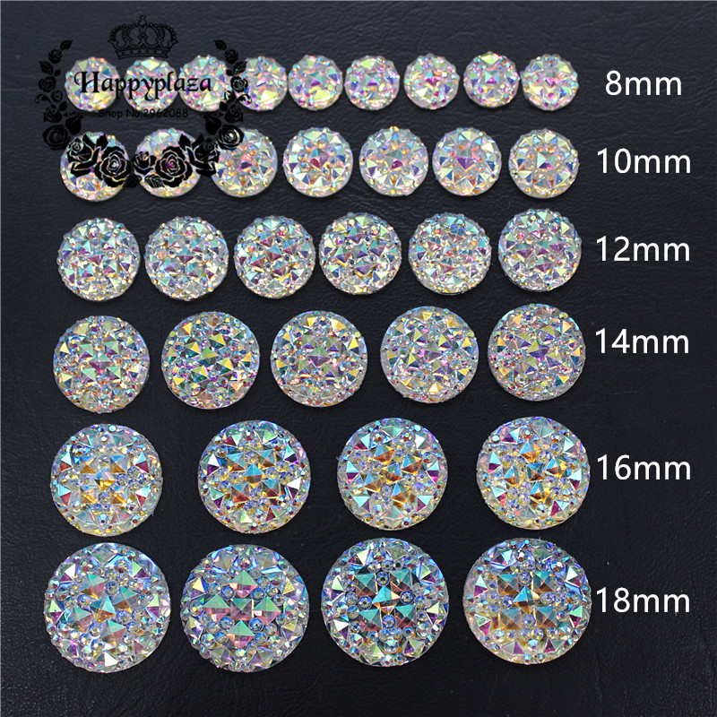 6/8/10/12/14/16/18/20/25/30mm Round Bling Crystal AB Resin Rhinestone Flatback Cabochon Stone DIY Wedding Decoration Crafts
