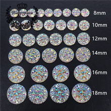 6/8/10/12/14/16/18/20/25/30mm Round Bling Crystal AB Resin Rhinestone Flatback Cabochon Stone DIY Wedding Decoration Crafts(China)