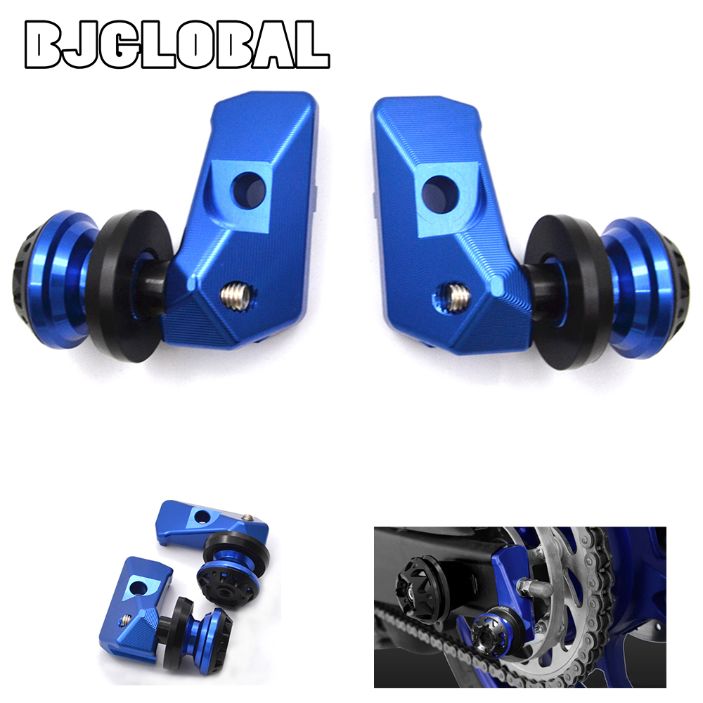 ФОТО For Yamaha YZF R25 YZF R3 CNC Motorcycle Rear Fork Adjustment Code Rear Axle Spindle Chain Adjuster Blocks with Swingarm Sliders