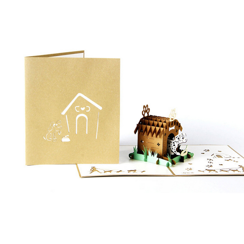 3D Pop Up Pet House Greeting Card Christmas Valentine