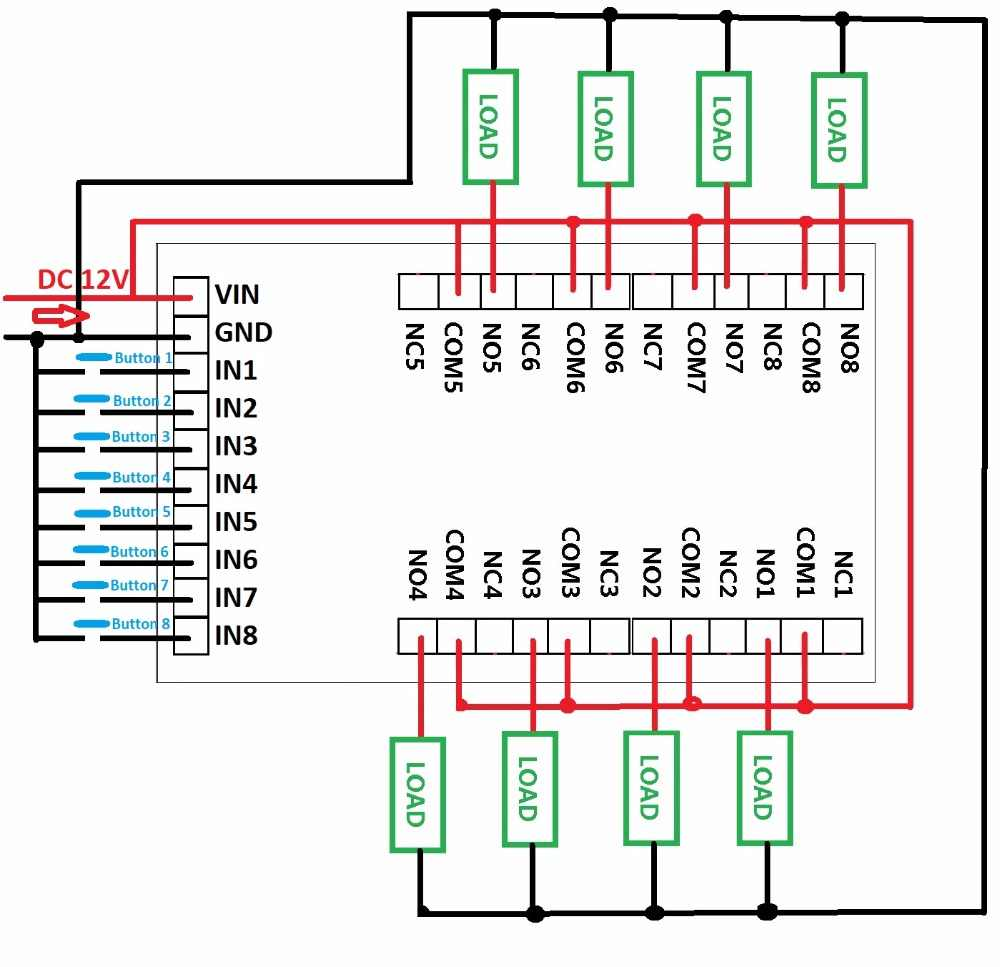 dc 12v 8 channels multifunction timer delay relay board time switch timing loop interlock self  [ 1000 x 967 Pixel ]