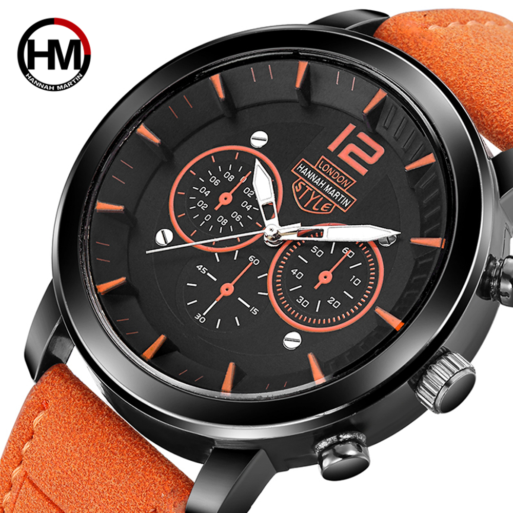 2019 New Hannah Martin Men's Watch Top Brand Luxury Military Sport Watch Men Watch Fashion Watches Clock Saati Hombre Relojes