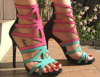 Brand Red Blue Contrast Color Stiletto Heel Sandals Women Hollow Out Patchwork High Heels Pumps Girls