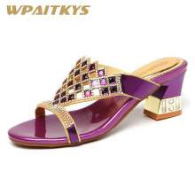 Elegant Women Shoes Rhinestone Sandals Fashion Golden Purple Two Colors Available Crystal Leather Casual Wedding
