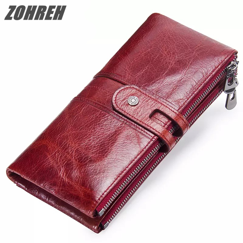ZOHREH Women Wallet Genuine Leather Wallet Female Clutch wallet Coin Purse Ladies Credit Card Holder Wallet Long Phone Money fashion girl change clasp purse money coin purse portable multifunction long female clutch travel wallet portefeuille femme cuir