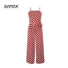 JSMY Summer Sexy Sleeveless Strapless Sling Polka Dot Long Straight Jumpsuit