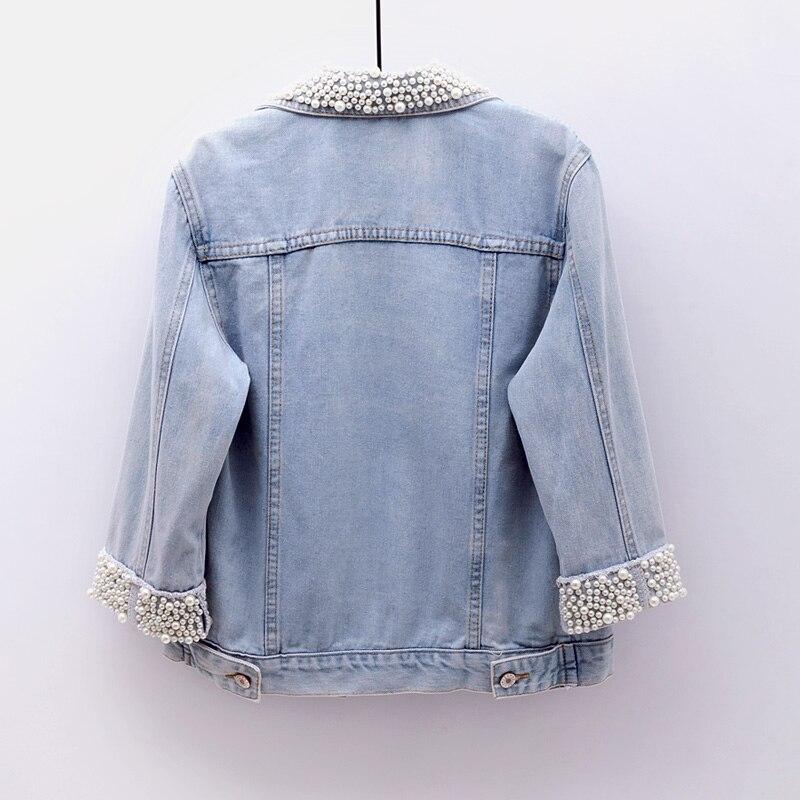 2018 Women Spring Autumn Korean Diamond Beaded Denim Jacket Summer Light Blue Short Jackets Slim Jeans Coats Feminino Outerwear 2