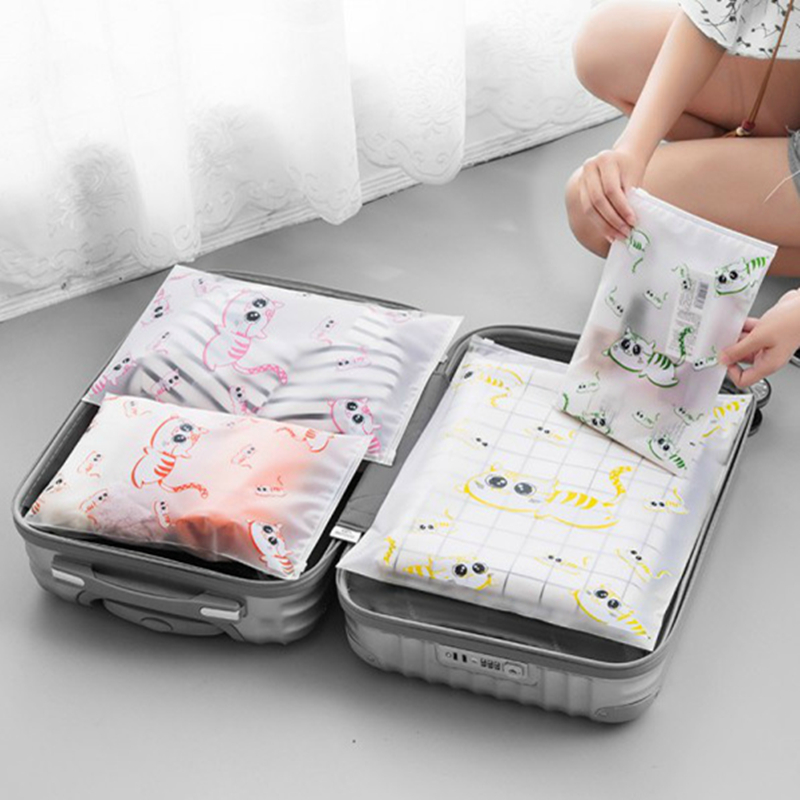 PACGOTH Travel Packing Organizers Kawaii Waterproof Clothes Storage Bags Animal Prints Cute Cats Pattern Travel Accessories 1 PC pacgoth japanese and korean style pu leather coin purse casual animal prints cute cats hot lip pattern zipper cash pouch 1 piece