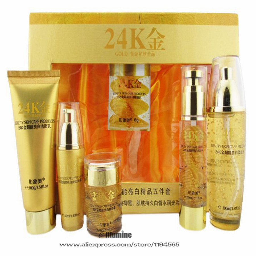 5pieces Set 24k Gold Super Bright Cleanser Toner Serum Lotion BB Cream Whitening Moisturizing Anti-Spots  Skin Care Products b6726 plant brightening 5in1 skin care set cleanser skin toner lotion whitening cream bb cream skin care cosmetics facial kit
